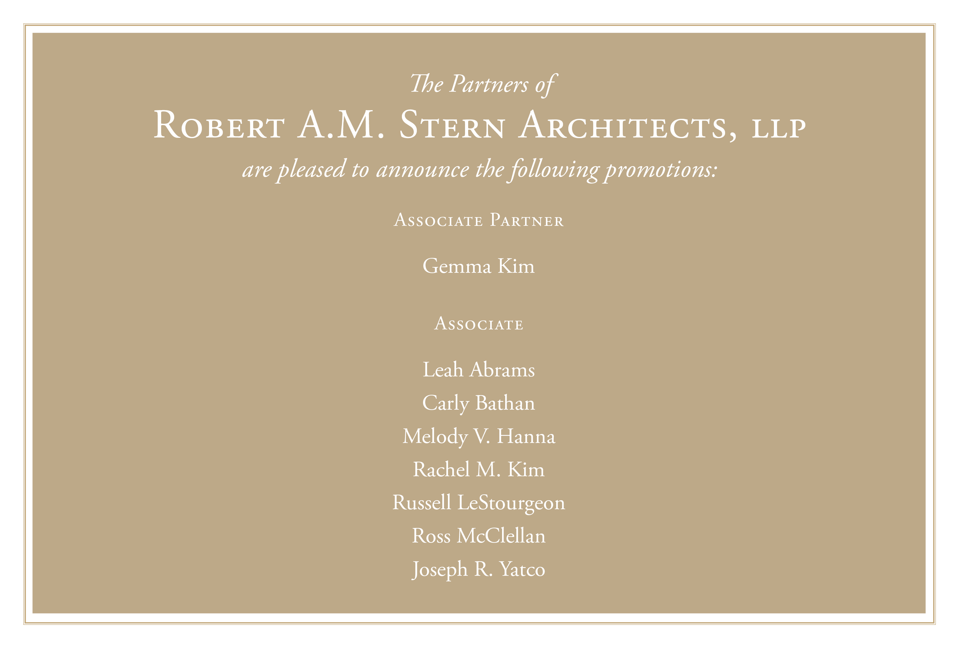 Robert A.M. Stern Architects Announces New Promotions