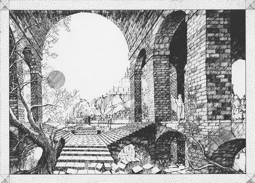 <p><em>The Ruins</em> (Michael D. Jones, 1980). Pencil on paper<em>.</em></p>