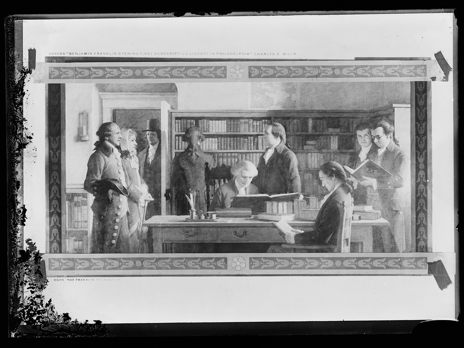 <p><em>Benjamin Franklin opening the first subscription library in Philadelphia</em> (Charles E. Mills, c. 1912). Photograph of a mural, dry plate negative. Source: Library of Congress, Prints and Photographs Division.</p>