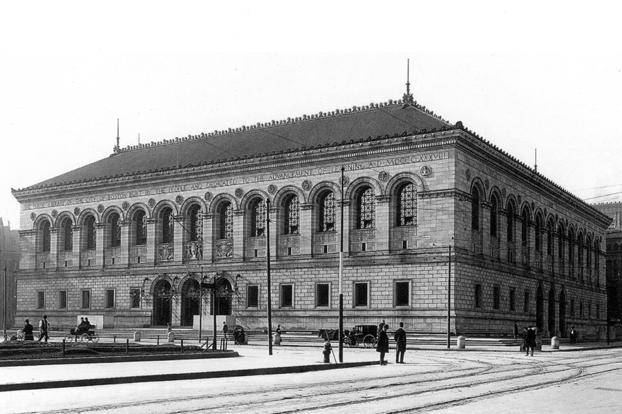 <p>Boston Public Library (McKim, Mead &amp; White, 1895). Photograph c. 1900. Source: Library of Congress, Prints and Photographs Division.</p>