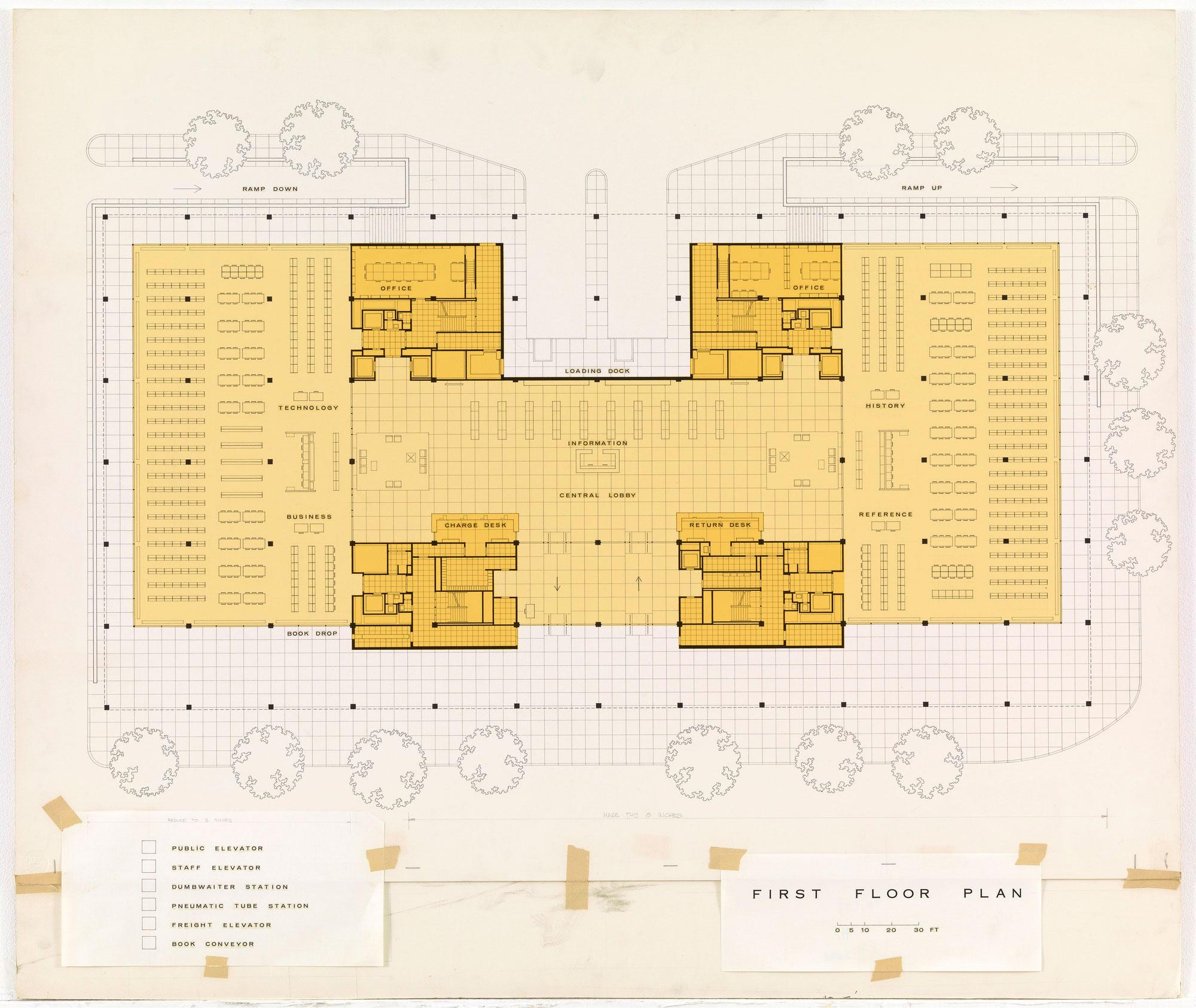<p>Martin Luther King Jr. Library (Mies Van der Rohe, 1968), Washington, DC, first floor plan. Source: Museum of Modern Art, New York.</p>