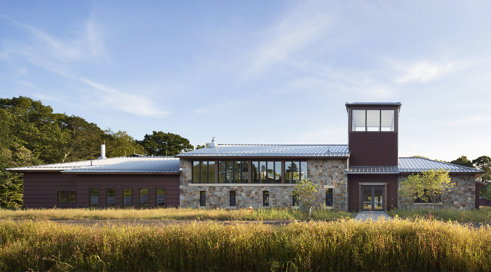 <p>West facade of the Kohler Environmental Center, viewed from campus. Photograph Peter Aaron / OTTO, 2012.</p>