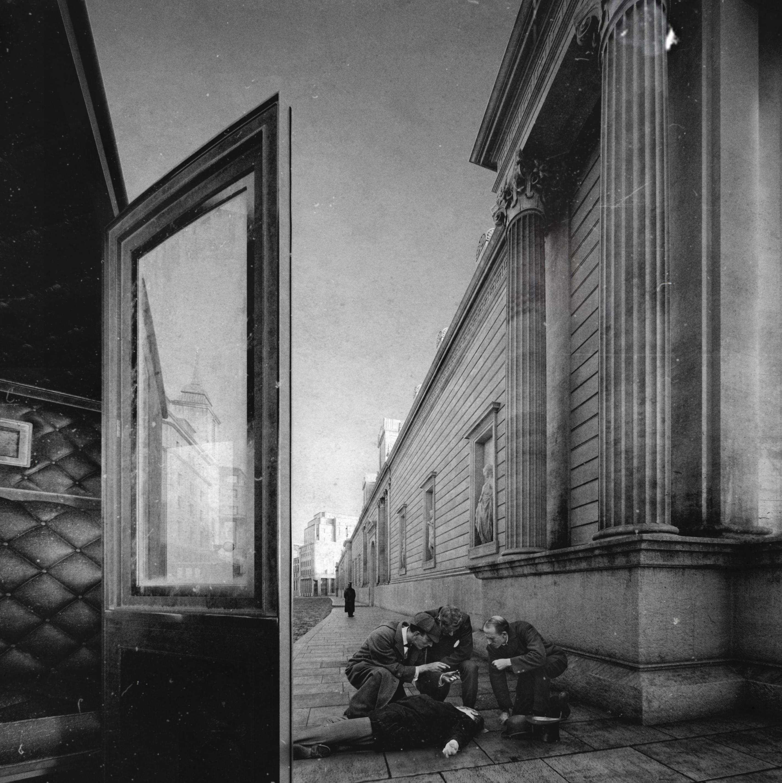 <p>Lothbury Street screen wall (or Mystery on Lothbury Street). Project Soane best image. Rendering Andre Simapranata, Nejc Kilar, Matej Ovsenek, and Natalija Jagarinec/Manuel Rearte Studios, 2016.</p>