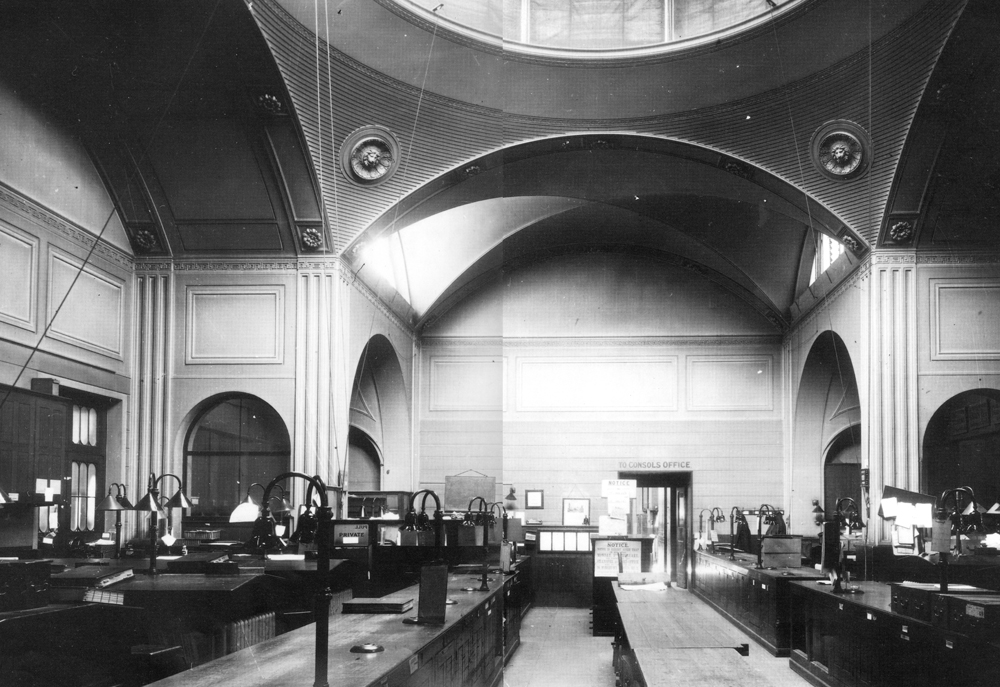 <p>Bank Stock Office at the Bank of England, as built by Soane in 1791–93. Photograph Frank Yerbury, c. 1920s.</p>