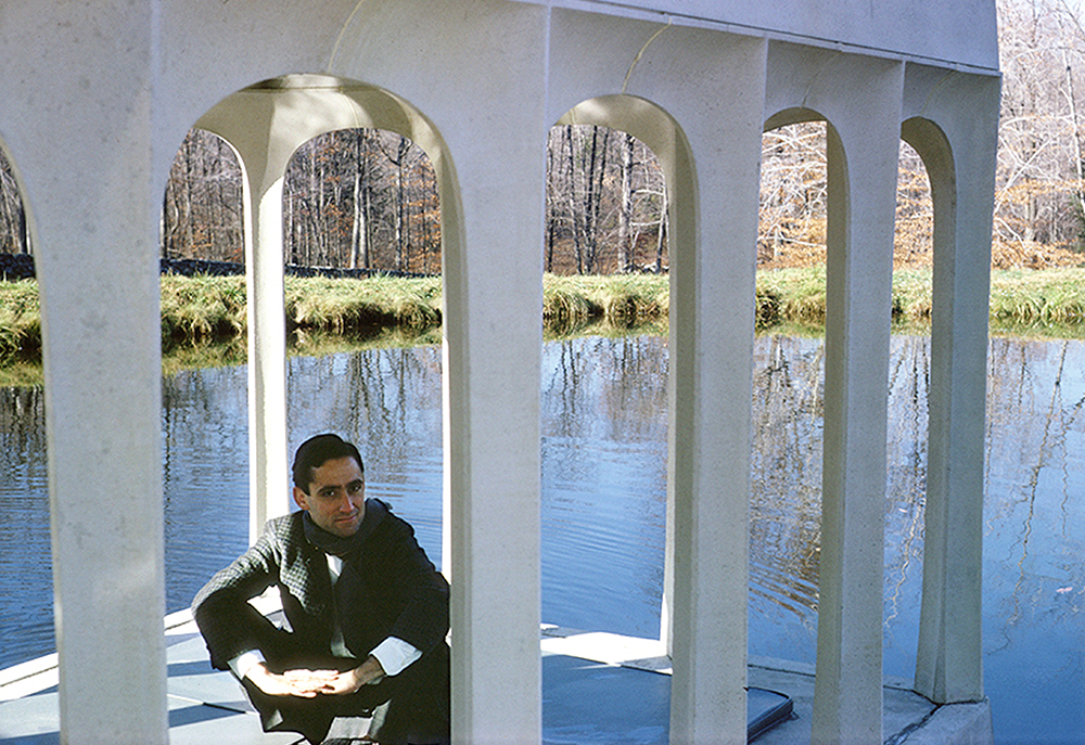 <p>Bob Stern at the Glass House Pavilion in the Pond (Philip Johnson, 1959–62) in New Canaan, Connecticut. Photograph Gifford Pierce, c. 1963.</p>