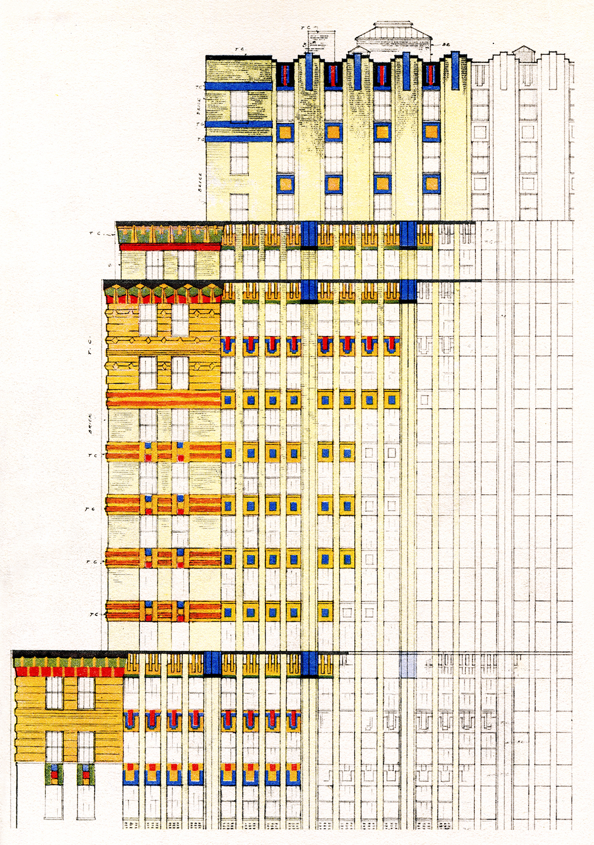 """<p><span><span><span><span>This color study was put together by ceramicist and color consultant Leon V. Solon, who knew Kahn from the Architectural League of New York, where both were quite active. It features in Solon's essay """"The Park Avenue Building, New York City: The Evolution of a Style,"""" <em>The Architectural Record </em>v. 63, n. 4 (April 1928).</span></span></span></span></p>"""